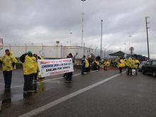 TWSC Banner Supports Port Workers And ILWU NW members who work on grain